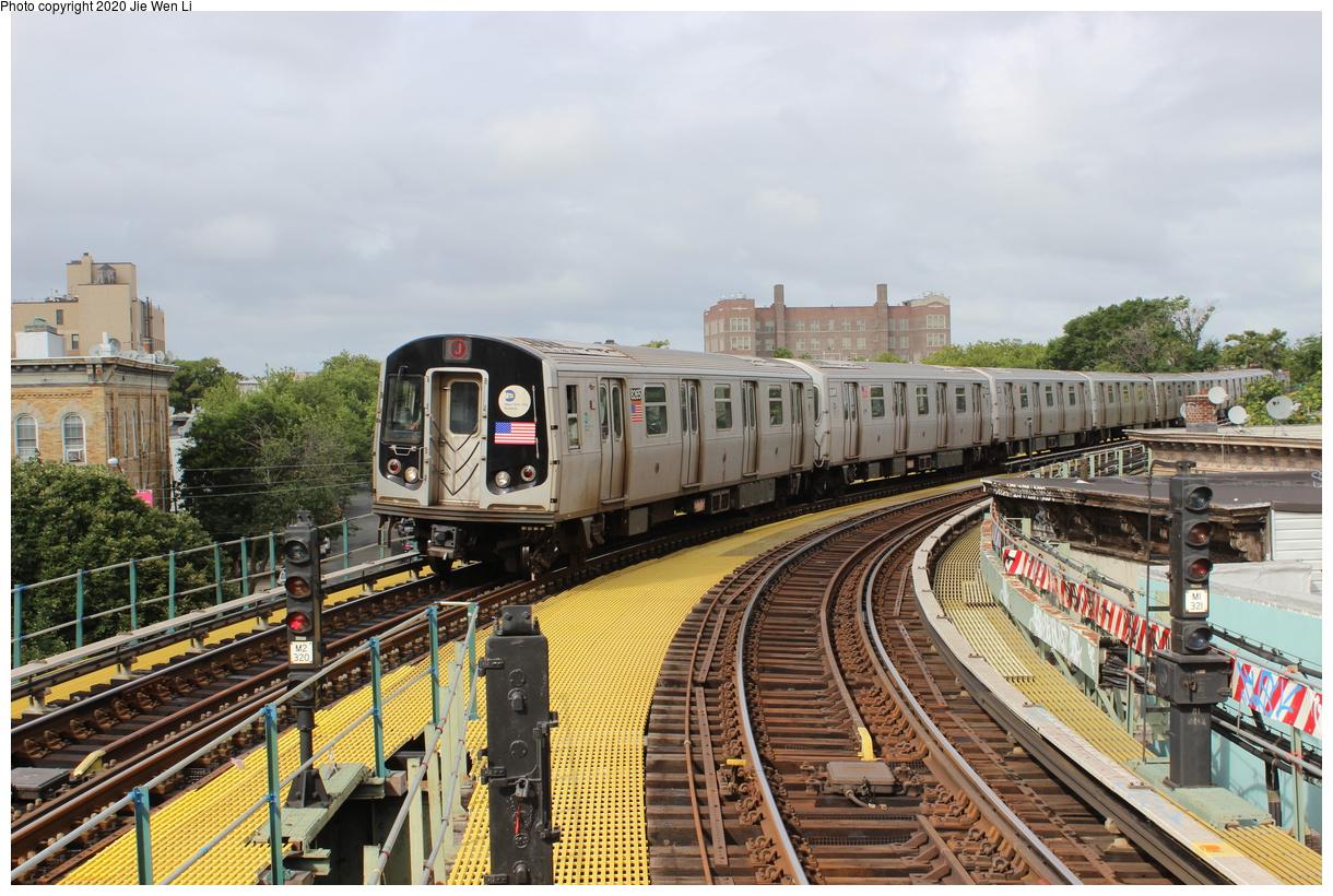 (490k, 1220x820)<br><b>Country:</b> United States<br><b>City:</b> New York<br><b>System:</b> New York City Transit<br><b>Line:</b> BMT Myrtle Avenue Line<br><b>Location:</b> Seneca Avenue<br><b>Route:</b> J<br><b>Car:</b> R-143 (Kawasaki, 2001-2002) 8265 <br><b>Photo by:</b> Jie Wen Li<br><b>Date:</b> 7/22/2018<br><b>Notes:</b> J to Metropolitan Ave. G.O.<br><b>Viewed (this week/total):</b> 3 / 331