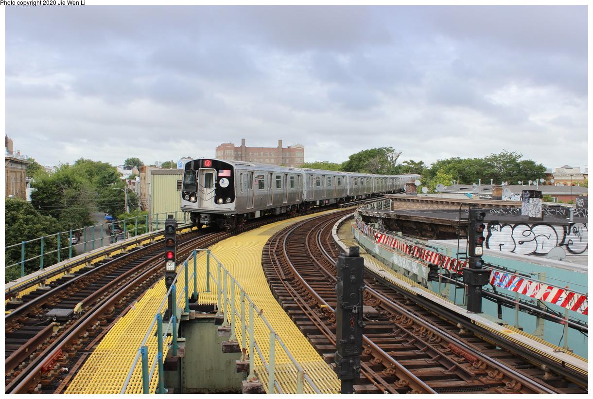 (490k, 1220x820)<br><b>Country:</b> United States<br><b>City:</b> New York<br><b>System:</b> New York City Transit<br><b>Line:</b> BMT Myrtle Avenue Line<br><b>Location:</b> Seneca Avenue<br><b>Route:</b> J<br><b>Car:</b> R-179 (Bombardier, 2016-2019) 3057 <br><b>Photo by:</b> Jie Wen Li<br><b>Date:</b> 7/22/2018<br><b>Notes:</b> J to Metropolitan Ave. G.O.<br><b>Viewed (this week/total):</b> 5 / 269