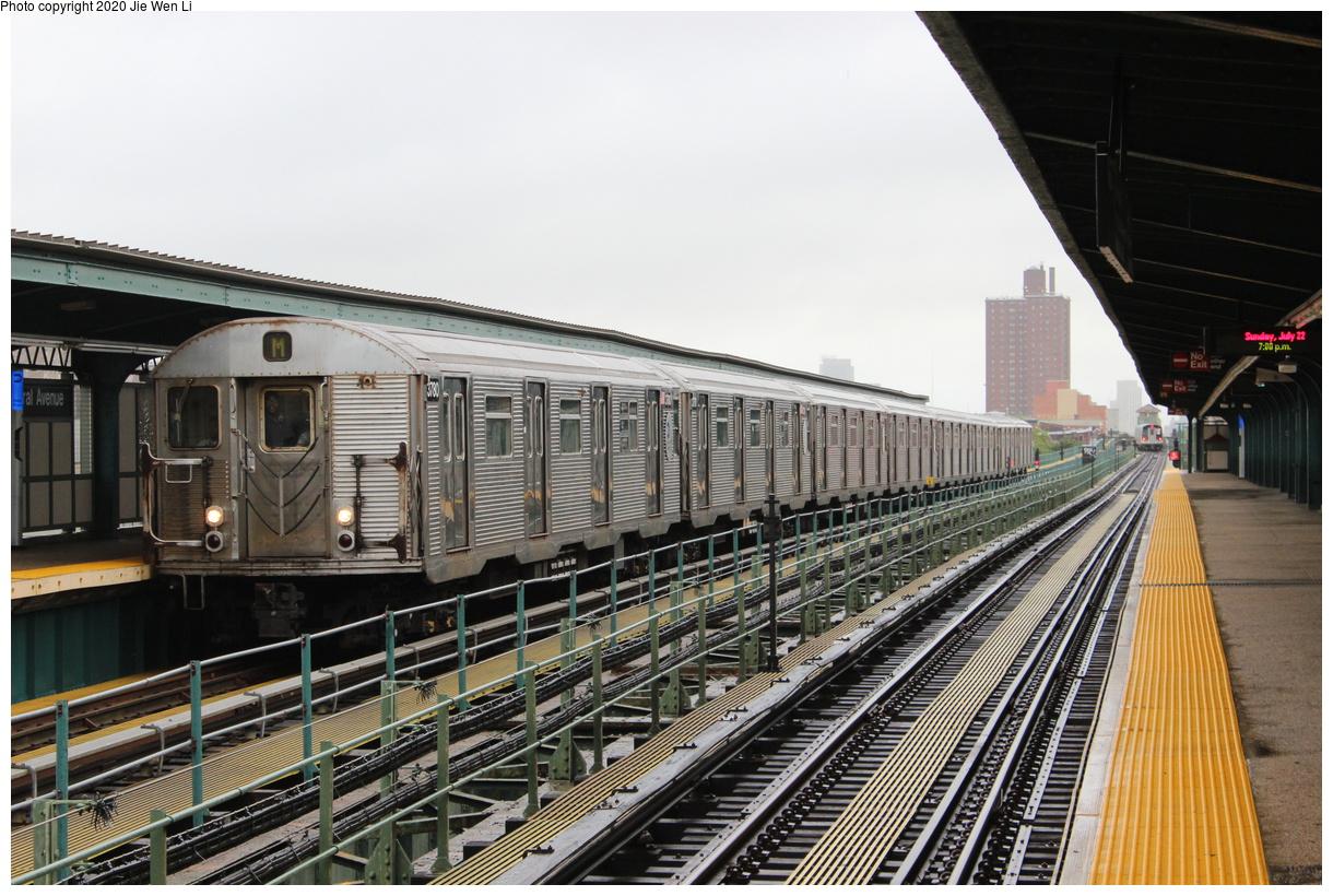(447k, 1220x820)<br><b>Country:</b> United States<br><b>City:</b> New York<br><b>System:</b> New York City Transit<br><b>Line:</b> BMT Myrtle Avenue Line<br><b>Location:</b> Central Avenue<br><b>Route:</b> M<br><b>Car:</b> R-32 (Budd, 1964) 3780 <br><b>Photo by:</b> Jie Wen Li<br><b>Date:</b> 7/22/2018<br><b>Notes:</b> J to Metropolitan Ave. G.O.<br><b>Viewed (this week/total):</b> 2 / 284