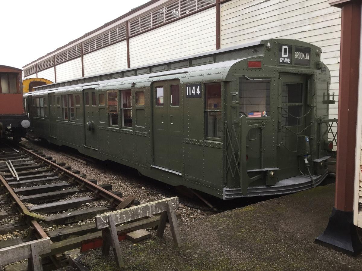 (450k, 1200x900)<br><b>Country:</b> United States<br><b>City:</b> New York<br><b>System:</b> New York City Transit<br><b>Location:</b> Buckinghamshire Railway Centre<br><b>Car:</b> R-6-3 (American Car & Foundry, 1935) 1144 <br><b>Photo by:</b> Rob Morel<br><b>Date:</b> 3/17/2018<br><b>Notes:</b> Repainted R-6-3 1144.<br><b>Viewed (this week/total):</b> 11 / 228