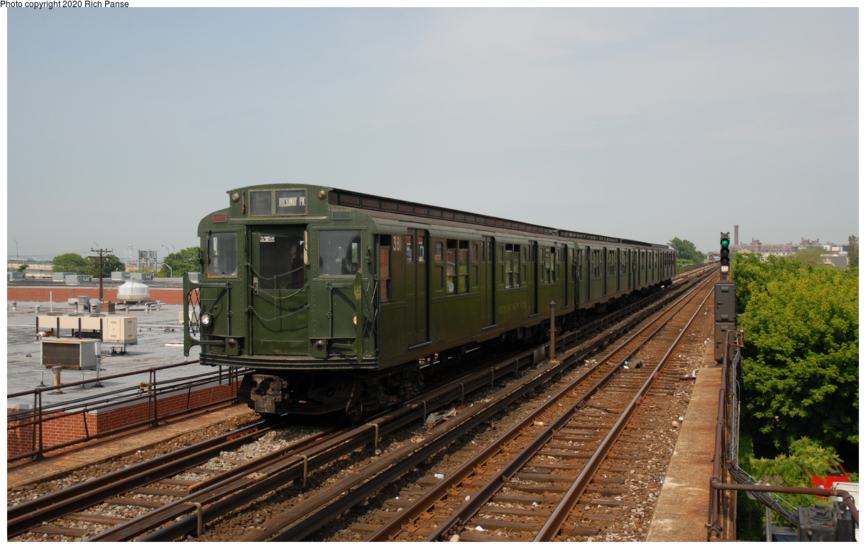 (430k, 1220x774)<br><b>Country:</b> United States<br><b>City:</b> New York<br><b>System:</b> New York City Transit<br><b>Line:</b> IND Rockaway Line<br><b>Location:</b> Beach 98th Street/Playland<br><b>Route:</b> Museum Train Service<br><b>Car:</b> R-1 (American Car & Foundry, 1930-1931) 381 <br><b>Photo by:</b> Richard Panse<br><b>Date:</b> 6/17/2006<br><b>Viewed (this week/total):</b> 1 / 198