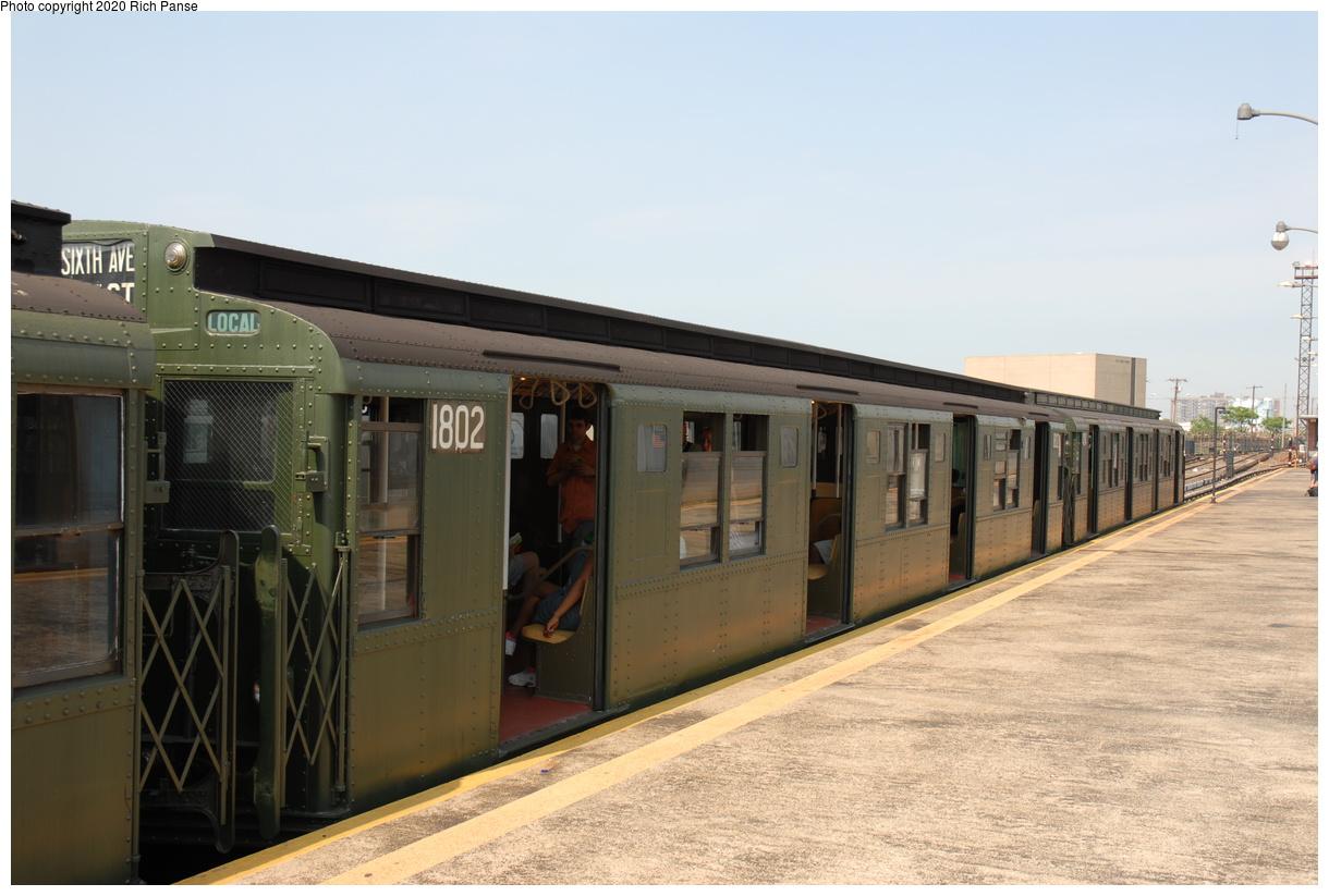 (347k, 1220x823)<br><b>Country:</b> United States<br><b>City:</b> New York<br><b>System:</b> New York City Transit<br><b>Line:</b> IND Rockaway Line<br><b>Location:</b> Rockaway Park/Beach 116th Street<br><b>Route:</b> Museum Train Service<br><b>Car:</b> R-9 (Pressed Steel, 1940) 1802 <br><b>Photo by:</b> Richard Panse<br><b>Date:</b> 6/17/2006<br><b>Viewed (this week/total):</b> 1 / 203