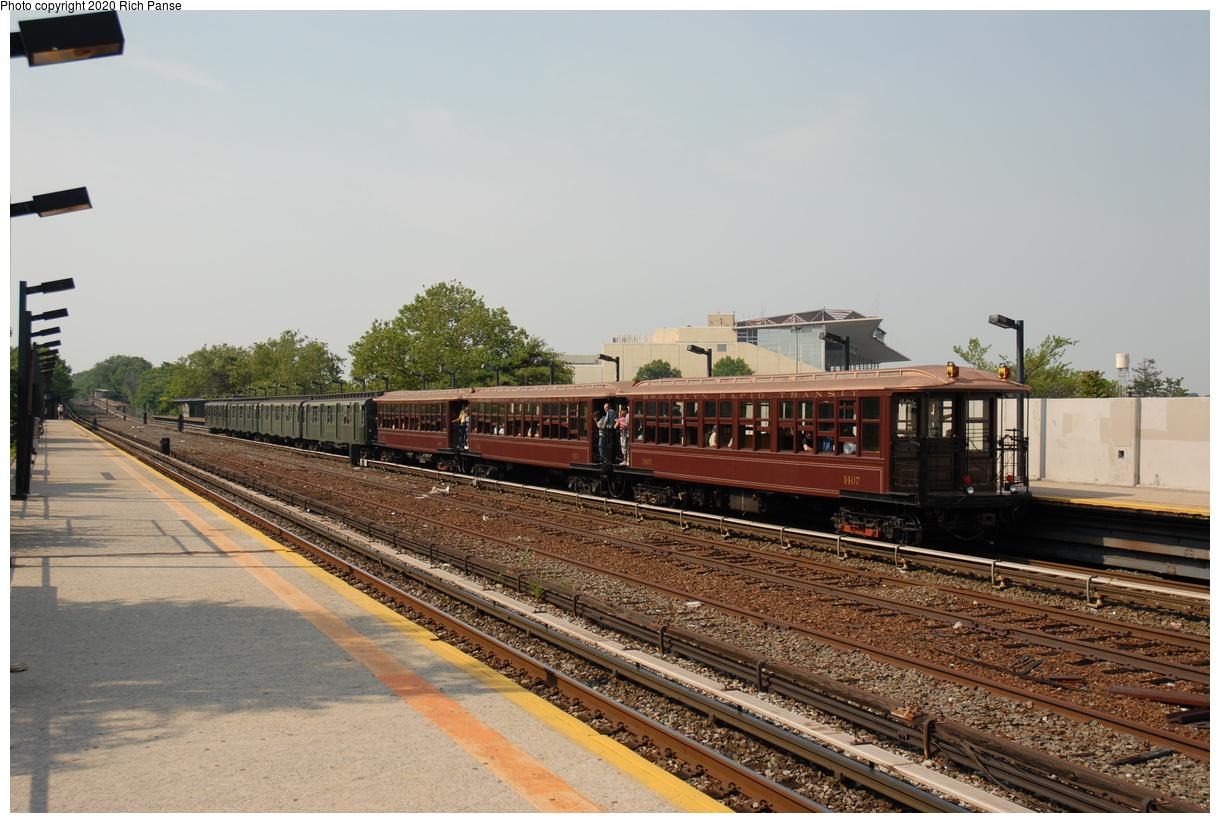 (415k, 1220x823)<br><b>Country:</b> United States<br><b>City:</b> New York<br><b>System:</b> New York City Transit<br><b>Line:</b> IND Rockaway Line<br><b>Location:</b> Aqueduct/North Conduit Avenue<br><b>Route:</b> Museum Train Service<br><b>Car:</b> BMT Elevated Gate Car 1407 <br><b>Photo by:</b> Richard Panse<br><b>Date:</b> 6/17/2006<br><b>Viewed (this week/total):</b> 2 / 184