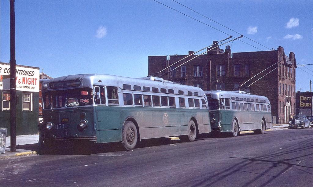 (212k, 1024x613)<br><b>Country:</b> United States<br><b>City:</b> New York<br><b>System:</b> B&QT Trolleybus<br><b>Location:</b> Flushing Ave. & 61 St.<br><b>Route:</b> 57<br><b>Car:</b>  3150 <br><b>Photo by:</b> Joe Testagrose<br><b>Date:</b> 5/29/1960<br><b>Viewed (this week/total):</b> 0 / 2840