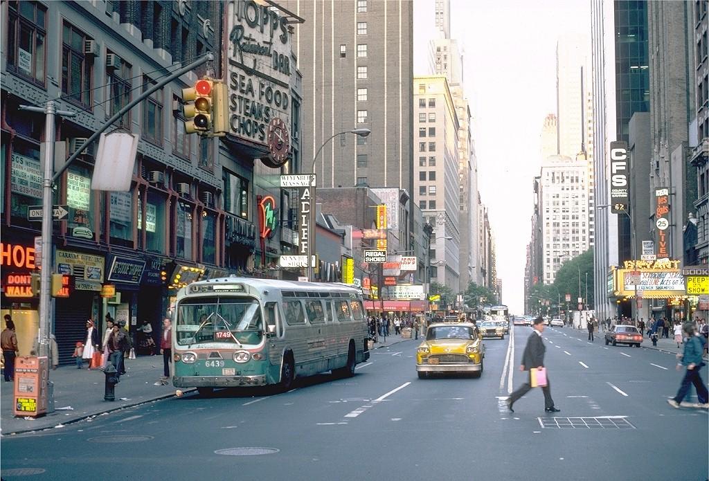 (264k, 1024x695)<br><b>Country:</b> United States<br><b>City:</b> New York<br><b>System:</b> MABSTOA<br><b>Location:</b> Broadway & 42 St<br><b>Route:</b> M104<br><b>Car:</b>  6439 <br><b>Photo by:</b> Steve Zabel<br><b>Collection of:</b> Joe Testagrose<br><b>Date:</b> 5/7/1981<br><b>Notes:</b> WMATA 6439 AS MABSTOA 1749<br><b>Viewed (this week/total):</b> 1 / 1808