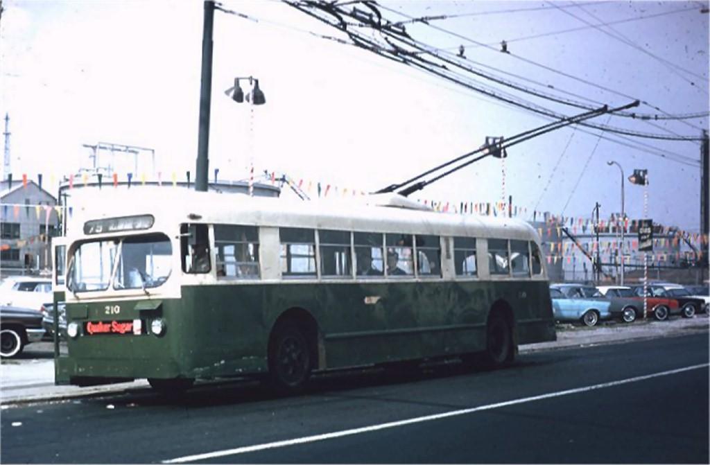 (120k, 1024x671)<br><b>Country:</b> United States<br><b>City:</b> Philadelphia, PA<br><b>System:</b> SEPTA (or Predecessor)<br><b>Line:</b> SEPTA Trackless Trolley Routes<br><b>Route:</b> Rt 79<br><b>Car:</b> PTC/SEPTA ACF-Brill TC-44 Trackless (1947) 210 <br><b>Photo by:</b> Willie Rosenberg<br><b>Collection of:</b> Joe Testagrose<br><b>Date:</b> 8/1967<br><b>Viewed (this week/total):</b> 0 / 1054