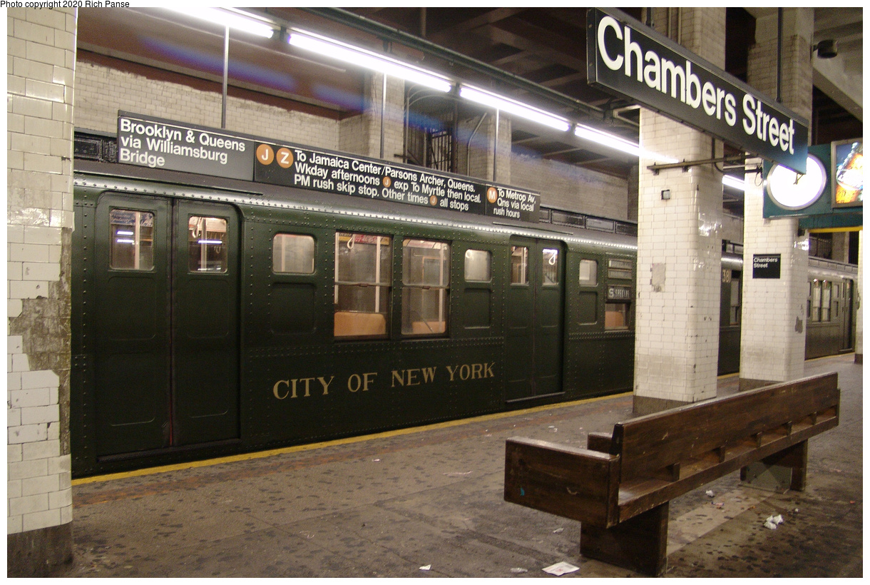 (516k, 1220x820)<br><b>Country:</b> United States<br><b>City:</b> New York<br><b>System:</b> New York City Transit<br><b>Line:</b> BMT Nassau Street-Jamaica Line<br><b>Location:</b> Chambers Street<br><b>Route:</b> Museum Train Service<br><b>Car:</b> R-1 (American Car & Foundry, 1930-1931)  <br><b>Photo by:</b> Richard Panse<br><b>Date:</b> 1/1/2005<br><b>Viewed (this week/total):</b> 1 / 231