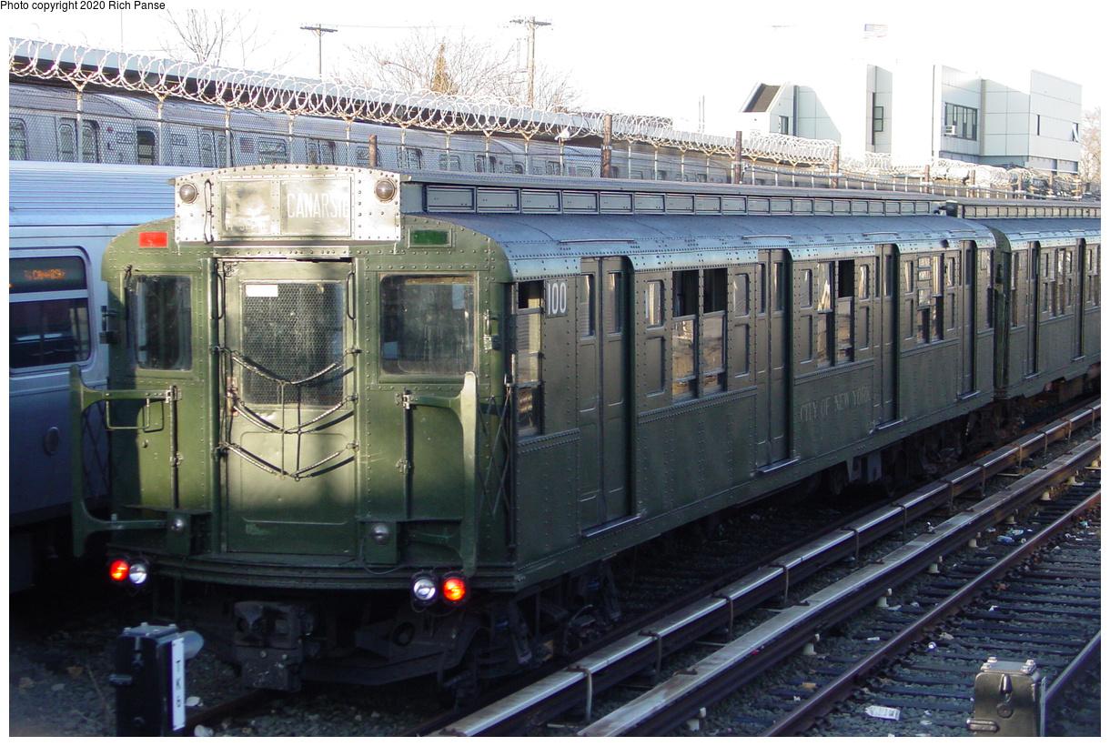 (519k, 1220x820)<br><b>Country:</b> United States<br><b>City:</b> New York<br><b>System:</b> New York City Transit<br><b>Location:</b> Rockaway Parkway (Canarsie) Yard<br><b>Route:</b> Museum Train Service<br><b>Car:</b> R-1 (American Car & Foundry, 1930-1931) 100 <br><b>Photo by:</b> Richard Panse<br><b>Date:</b> 1/1/2005<br><b>Viewed (this week/total):</b> 0 / 430