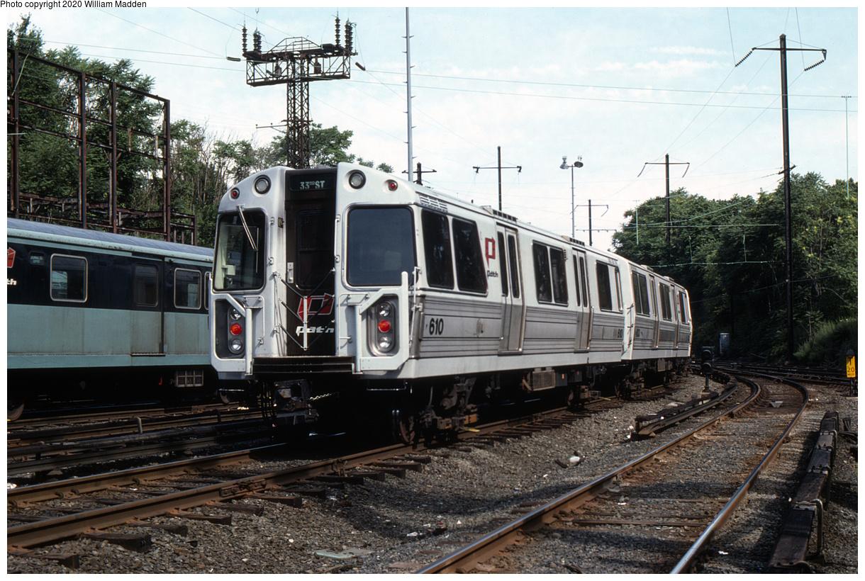 (575k, 1220x820)<br><b>Country:</b> United States<br><b>City:</b> Jersey City, NJ<br><b>System:</b> PATH<br><b>Location:</b> Journal Square Yard<br><b>Car:</b> PATH PA-1 (St. Louis Car, 1965) 610 <br><b>Photo by:</b> William J. Madden<br><b>Collection of:</b> David Pirmann<br><b>Date:</b> 6/30/1986<br><b>Viewed (this week/total):</b> 1 / 184