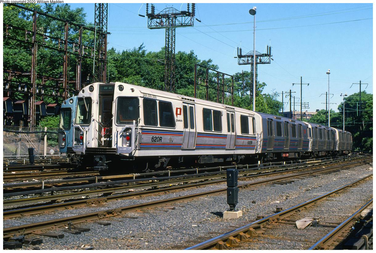 (814k, 1220x820)<br><b>Country:</b> United States<br><b>City:</b> Jersey City, NJ<br><b>System:</b> PATH<br><b>Location:</b> Journal Square Yard<br><b>Car:</b> PATH PA-1 (St. Louis Car, 1965) 620 <br><b>Photo by:</b> William J. Madden<br><b>Collection of:</b> David Pirmann<br><b>Date:</b> 6/10/1987<br><b>Viewed (this week/total):</b> 1 / 176