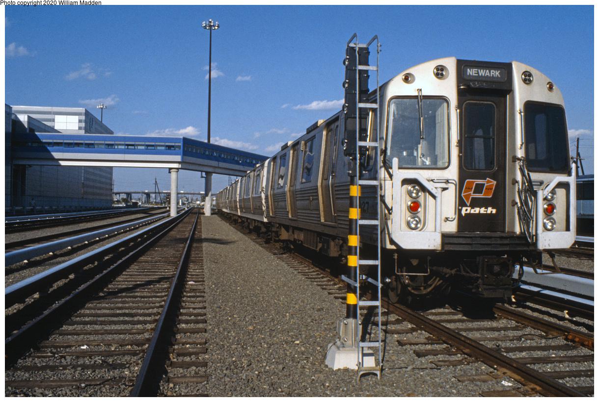 (603k, 1220x820)<br><b>Country:</b> United States<br><b>City:</b> Harrison, NJ<br><b>System:</b> PATH<br><b>Location:</b> Harrison Yard/Shop<br><b>Car:</b> PATH PA-4 (Kawasaki, 1986) 827 <br><b>Photo by:</b> William J. Madden<br><b>Collection of:</b> David Pirmann<br><b>Date:</b> 1991<br><b>Viewed (this week/total):</b> 1 / 180