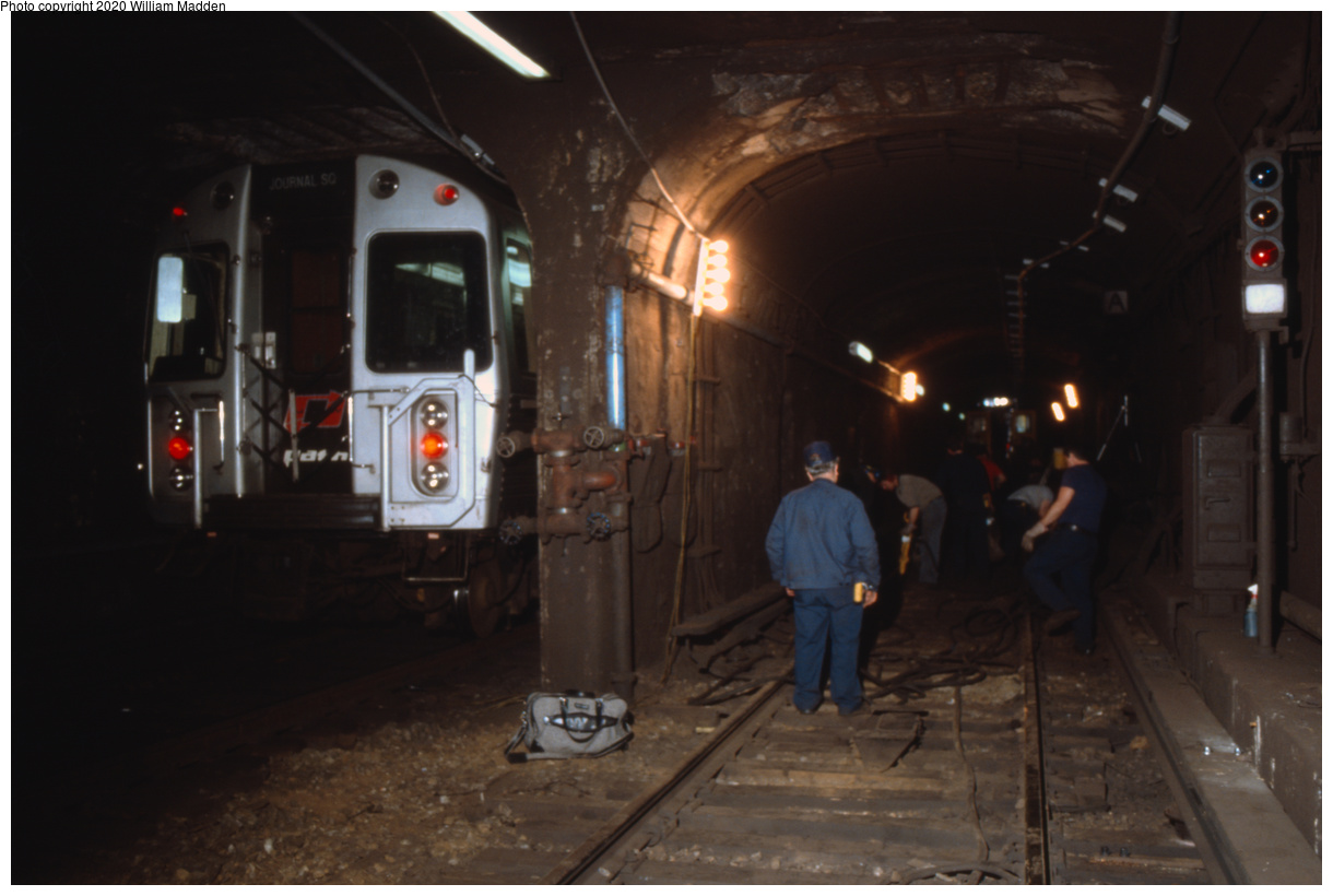 (293k, 1220x820)<br><b>Country:</b> United States<br><b>City:</b> New York<br><b>System:</b> PATH<br><b>Location:</b> 19th Street<br><b>Car:</b> PATH PA-4 (Kawasaki, 1986)  <br><b>Photo by:</b> William J. Madden<br><b>Collection of:</b> David Pirmann<br><b>Notes:</b> Track work at the former crossover at 19th St.<br><b>Viewed (this week/total):</b> 1 / 245