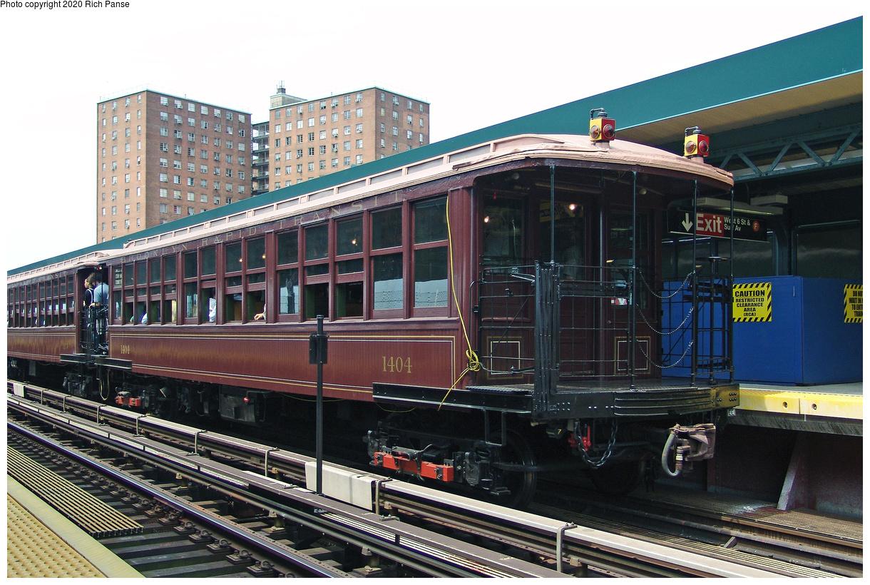 (528k, 1220x820)<br><b>Country:</b> United States<br><b>City:</b> New York<br><b>System:</b> New York City Transit<br><b>Line:</b> BMT Brighton Line<br><b>Location:</b> West 8th Street<br><b>Route:</b> Museum Train Service<br><b>Car:</b> BMT Elevated Gate Car 1404 <br><b>Photo by:</b> Richard Panse<br><b>Date:</b> 7/25/2004<br><b>Viewed (this week/total):</b> 0 / 101