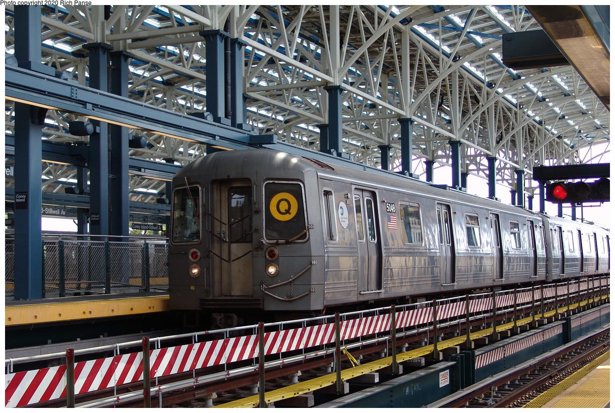 (638k, 1220x820)<br><b>Country:</b> United States<br><b>City:</b> New York<br><b>System:</b> New York City Transit<br><b>Location:</b> Coney Island/Stillwell Avenue<br><b>Route:</b> Q<br><b>Car:</b> R-68A (Kawasaki, 1988-1989) 5048 <br><b>Photo by:</b> Richard Panse<br><b>Date:</b> 7/25/2004<br><b>Viewed (this week/total):</b> 0 / 187