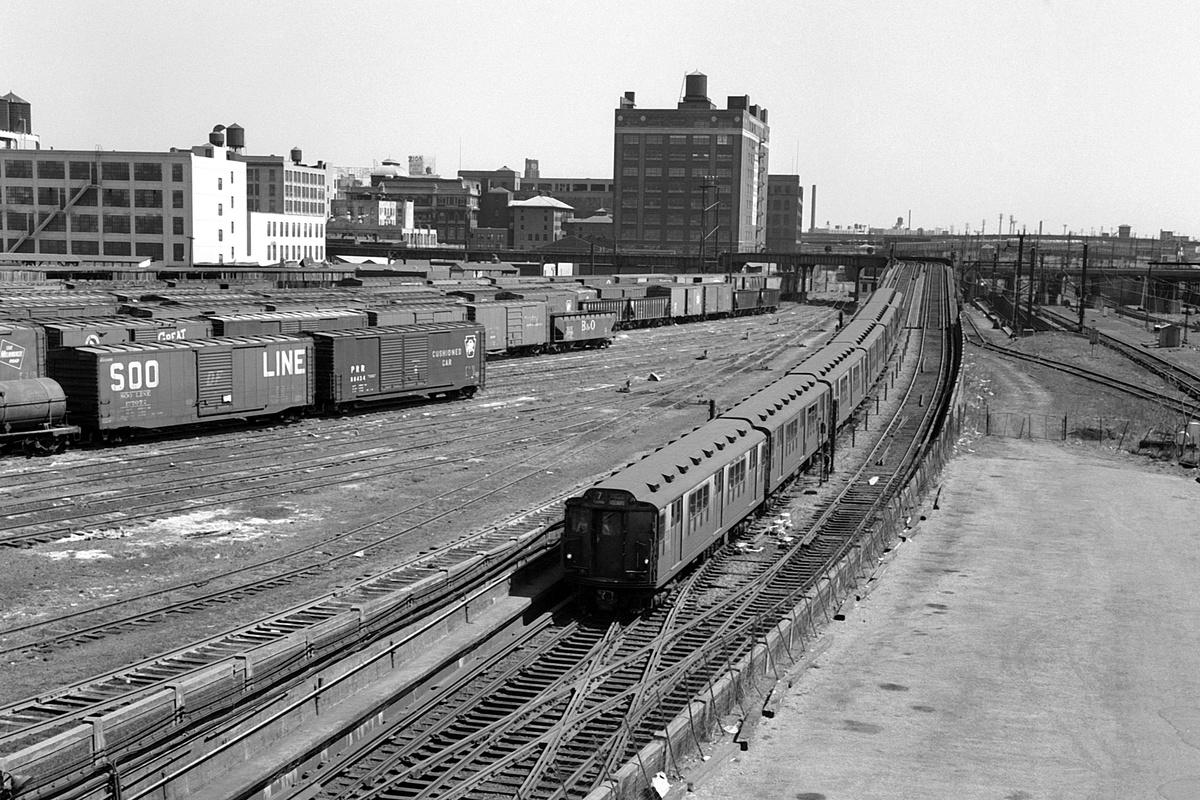 (454k, 1200x800)<br><b>Country:</b> United States<br><b>City:</b> New York<br><b>System:</b> New York City Transit<br><b>Line:</b> IRT Flushing Line<br><b>Location:</b> Viaduct approach east of Hunterspoint Ave.<br><b>Route:</b> 7<br><b>Car:</b> R-12 (American Car & Foundry, 1948)  <br><b>Collection of:</b> David Pirmann<br><b>Date:</b> 4/14/1963<br><b>Viewed (this week/total):</b> 1 / 277