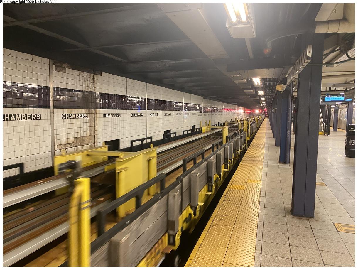 (447k, 1220x920)<br><b>Country:</b> United States<br><b>City:</b> New York<br><b>System:</b> New York City Transit<br><b>Line:</b> IND 8th Avenue Line<br><b>Location:</b> Chambers Street/World Trade Center<br><b>Route:</b> Work Service<br><b>Car:</b> Continuous Welded Rail Handler Flatcars  <br><b>Photo by:</b> Nicholas Noel<br><b>Date:</b> 9/15/2020<br><b>Viewed (this week/total):</b> 7 / 215