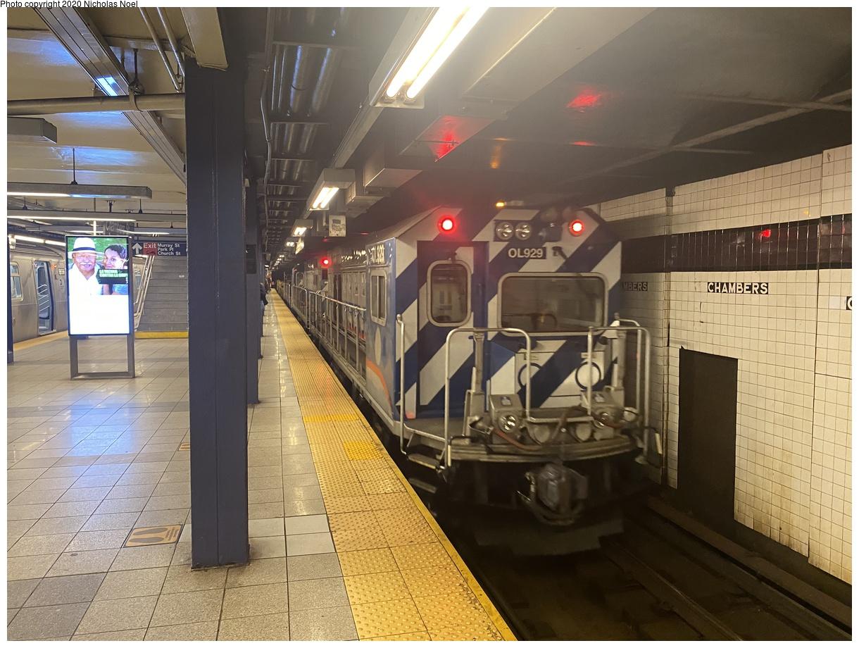 (406k, 1220x920)<br><b>Country:</b> United States<br><b>City:</b> New York<br><b>System:</b> New York City Transit<br><b>Line:</b> IND 8th Avenue Line<br><b>Location:</b> Chambers Street/World Trade Center<br><b>Route:</b> Work Service<br><b>Car:</b> R-156 Diesel-Electric Locomotive (MPI, 2012-2013) 929 <br><b>Photo by:</b> Nicholas Noel<br><b>Date:</b> 9/15/2020<br><b>Viewed (this week/total):</b> 7 / 167