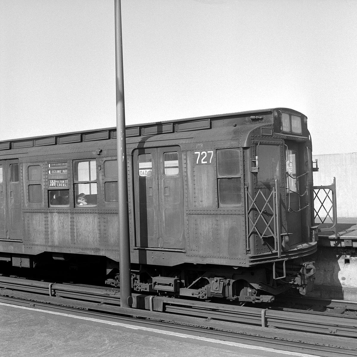 (583k, 1200x1200)<br><b>Country:</b> United States<br><b>City:</b> New York<br><b>System:</b> New York City Transit<br><b>Line:</b> IND Rockaway Line<br><b>Location:</b> Broad Channel<br><b>Route:</b> HH<br><b>Car:</b> R-4 (American Car & Foundry, 1932-1933) 727 <br><b>Collection of:</b> David Pirmann<br><b>Date:</b> 8/23/1969<br><b>Viewed (this week/total):</b> 2 / 295
