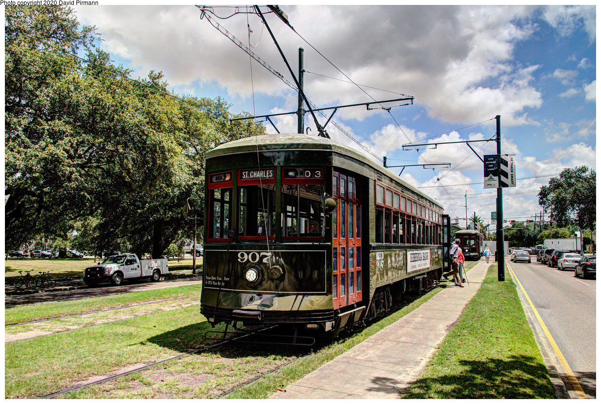 (858k, 1220x820)<br><b>Country:</b> United States<br><b>City:</b> New Orleans, LA<br><b>System:</b> New Orleans RTA<br><b>Line:</b> St. Charles<br><b>Location:</b> Carrollton/Claiborne<br><b>Car:</b> New Orleans Public Service (Perley A. Thomas Car Works, 1924) 907 <br><b>Photo by:</b> David Pirmann<br><b>Date:</b> 5/24/2019<br><b>Viewed (this week/total):</b> 3 / 145