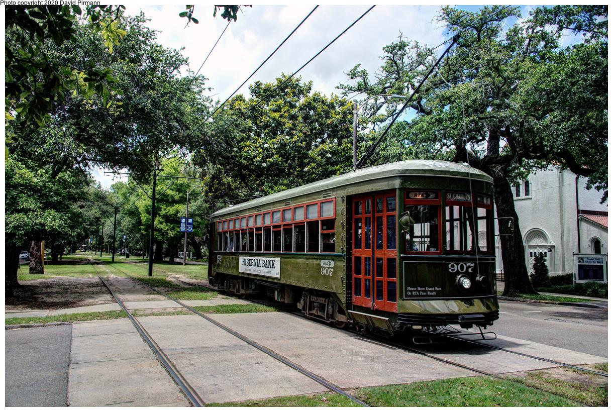 (924k, 1220x820)<br><b>Country:</b> United States<br><b>City:</b> New Orleans, LA<br><b>System:</b> New Orleans RTA<br><b>Line:</b> St. Charles<br><b>Location:</b> Carrollton/Panola<br><b>Car:</b> New Orleans Public Service (Perley A. Thomas Car Works, 1924) 907 <br><b>Photo by:</b> David Pirmann<br><b>Date:</b> 5/24/2019<br><b>Viewed (this week/total):</b> 2 / 138