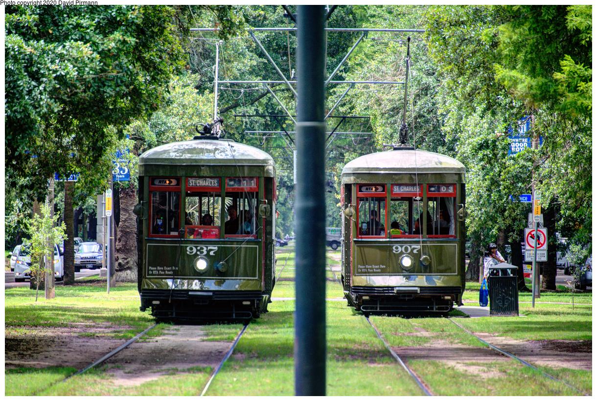 (966k, 1220x820)<br><b>Country:</b> United States<br><b>City:</b> New Orleans, LA<br><b>System:</b> New Orleans RTA<br><b>Line:</b> St. Charles<br><b>Location:</b> Carrollton/Spruce<br><b>Car:</b> New Orleans Public Service (Perley A. Thomas Car Works, 1924) 937-907 <br><b>Photo by:</b> David Pirmann<br><b>Date:</b> 5/24/2019<br><b>Viewed (this week/total):</b> 2 / 125