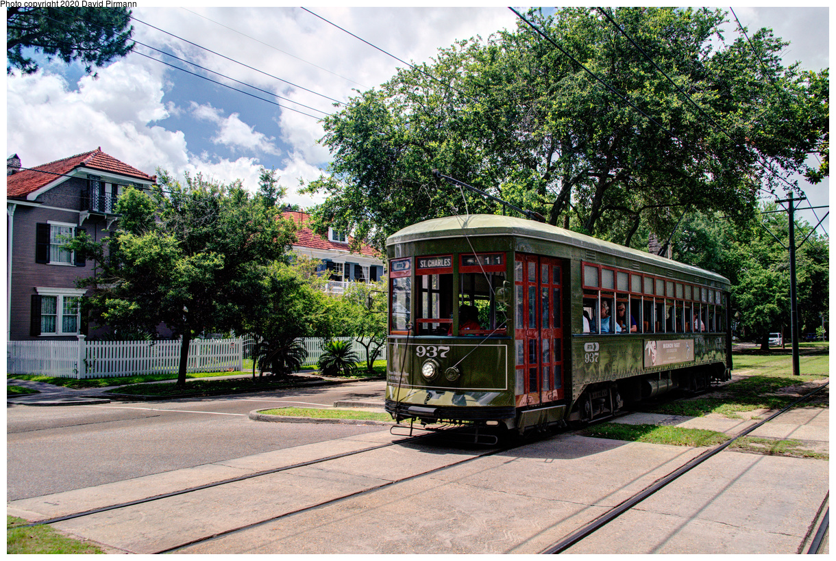 (901k, 1220x820)<br><b>Country:</b> United States<br><b>City:</b> New Orleans, LA<br><b>System:</b> New Orleans RTA<br><b>Line:</b> St. Charles<br><b>Location:</b> Carrollton/Panola<br><b>Car:</b> New Orleans Public Service (Perley A. Thomas Car Works, 1924) 937 <br><b>Photo by:</b> David Pirmann<br><b>Date:</b> 5/24/2019<br><b>Viewed (this week/total):</b> 2 / 127