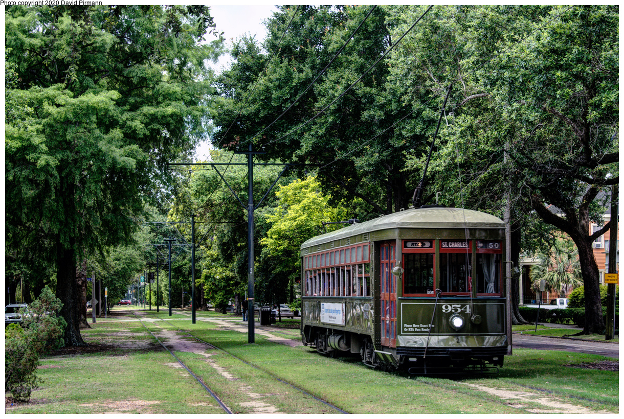 (920k, 1220x820)<br><b>Country:</b> United States<br><b>City:</b> New Orleans, LA<br><b>System:</b> New Orleans RTA<br><b>Line:</b> St. Charles<br><b>Location:</b> Carrollton/Spruce<br><b>Car:</b> New Orleans Public Service (Perley A. Thomas Car Works, 1924) 954 <br><b>Photo by:</b> David Pirmann<br><b>Date:</b> 5/24/2019<br><b>Viewed (this week/total):</b> 3 / 147