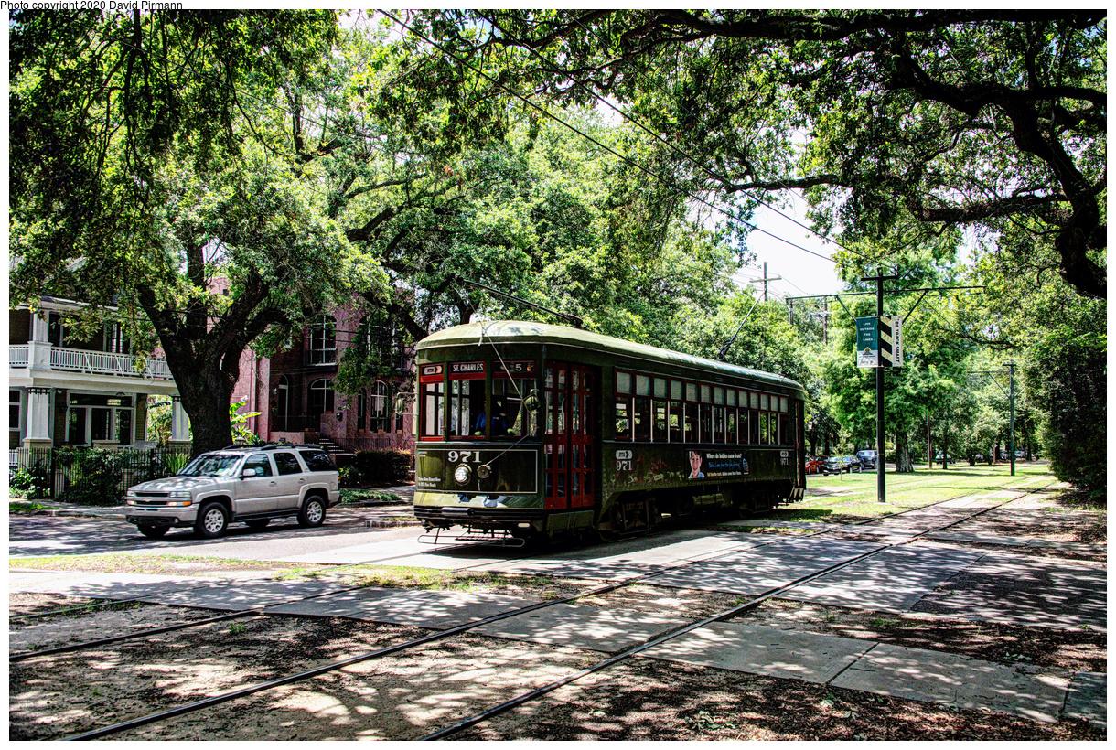 (1183k, 1220x820)<br><b>Country:</b> United States<br><b>City:</b> New Orleans, LA<br><b>System:</b> New Orleans RTA<br><b>Line:</b> St. Charles<br><b>Location:</b> Carrollton/Green<br><b>Car:</b> New Orleans Public Service (Perley A. Thomas Car Works, 1924) 971 <br><b>Photo by:</b> David Pirmann<br><b>Date:</b> 5/24/2019<br><b>Viewed (this week/total):</b> 2 / 125