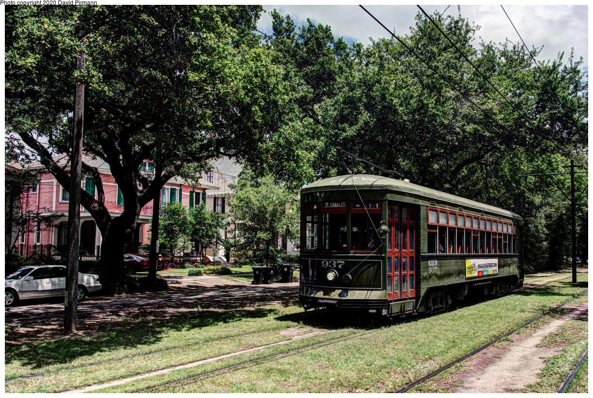 (985k, 1220x820)<br><b>Country:</b> United States<br><b>City:</b> New Orleans, LA<br><b>System:</b> New Orleans RTA<br><b>Line:</b> St. Charles<br><b>Location:</b> Carrollton/Green<br><b>Car:</b> New Orleans Public Service (Perley A. Thomas Car Works, 1924) 937 <br><b>Photo by:</b> David Pirmann<br><b>Date:</b> 5/24/2019<br><b>Viewed (this week/total):</b> 1 / 123