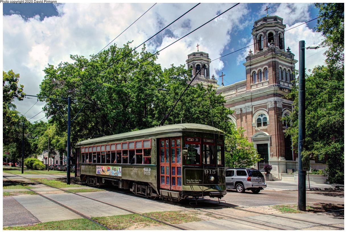 (883k, 1220x820)<br><b>Country:</b> United States<br><b>City:</b> New Orleans, LA<br><b>System:</b> New Orleans RTA<br><b>Line:</b> St. Charles<br><b>Location:</b> Carrollton/Plum<br><b>Car:</b> New Orleans Public Service (Perley A. Thomas Car Works, 1924) 915 <br><b>Photo by:</b> David Pirmann<br><b>Date:</b> 5/24/2019<br><b>Viewed (this week/total):</b> 1 / 127