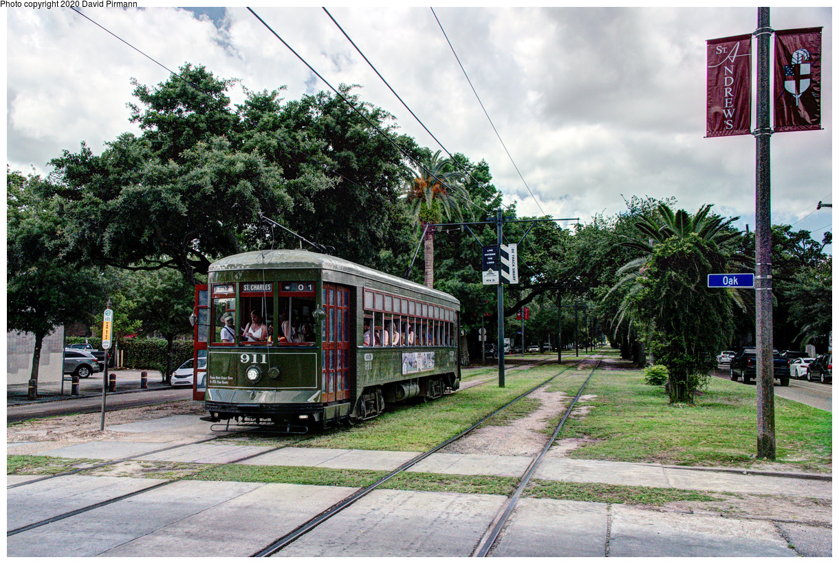 (847k, 1220x820)<br><b>Country:</b> United States<br><b>City:</b> New Orleans, LA<br><b>System:</b> New Orleans RTA<br><b>Line:</b> St. Charles<br><b>Location:</b> Carrollton/Oak<br><b>Car:</b> New Orleans Public Service (Perley A. Thomas Car Works, 1924) 911 <br><b>Photo by:</b> David Pirmann<br><b>Date:</b> 5/24/2019<br><b>Viewed (this week/total):</b> 0 / 140
