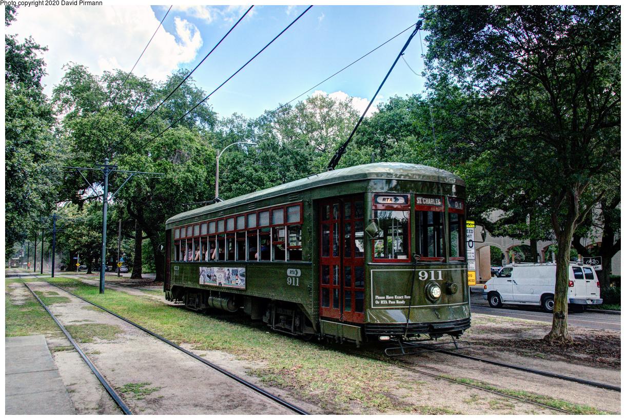 (962k, 1220x820)<br><b>Country:</b> United States<br><b>City:</b> New Orleans, LA<br><b>System:</b> New Orleans RTA<br><b>Line:</b> St. Charles<br><b>Location:</b> Carrollton/Oak<br><b>Car:</b> New Orleans Public Service (Perley A. Thomas Car Works, 1924) 911 <br><b>Photo by:</b> David Pirmann<br><b>Date:</b> 5/24/2019<br><b>Viewed (this week/total):</b> 1 / 135