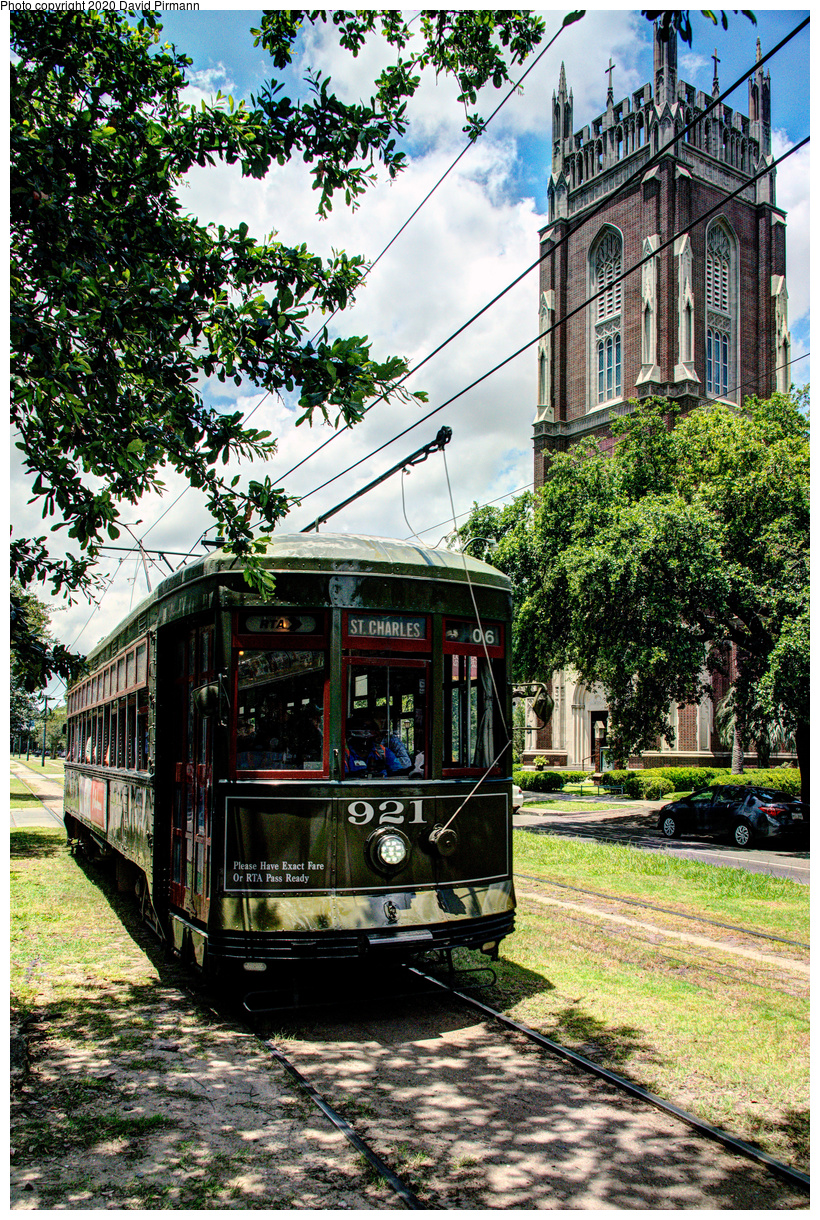 (1027k, 820x1220)<br><b>Country:</b> United States<br><b>City:</b> New Orleans, LA<br><b>System:</b> New Orleans RTA<br><b>Line:</b> St. Charles<br><b>Location:</b> St. Charles/Exposition<br><b>Car:</b> New Orleans Public Service (Perley A. Thomas Car Works, 1924) 921 <br><b>Photo by:</b> David Pirmann<br><b>Date:</b> 5/24/2019<br><b>Viewed (this week/total):</b> 2 / 132