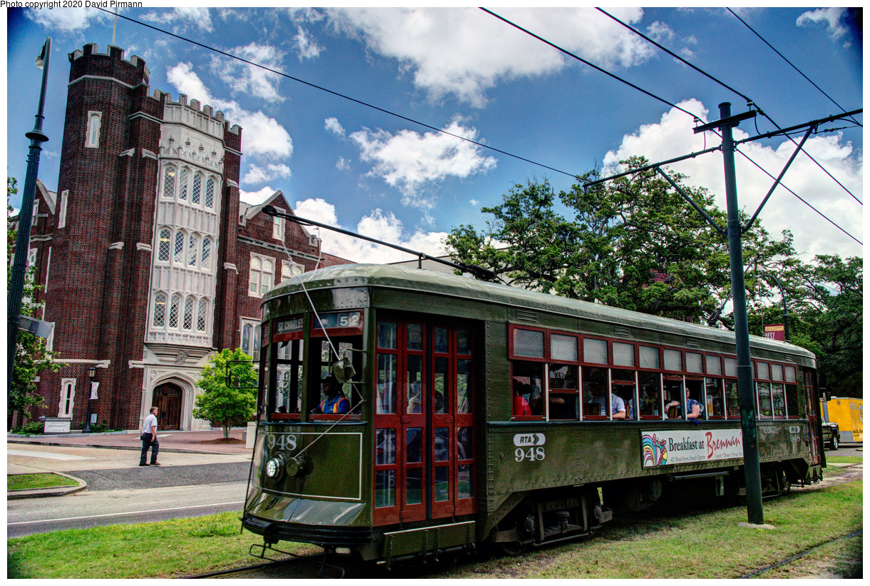 (836k, 1220x821)<br><b>Country:</b> United States<br><b>City:</b> New Orleans, LA<br><b>System:</b> New Orleans RTA<br><b>Line:</b> St. Charles<br><b>Location:</b> St. Charles/Exposition<br><b>Car:</b> New Orleans Public Service (Perley A. Thomas Car Works, 1924) 948 <br><b>Photo by:</b> David Pirmann<br><b>Date:</b> 5/24/2019<br><b>Viewed (this week/total):</b> 3 / 146