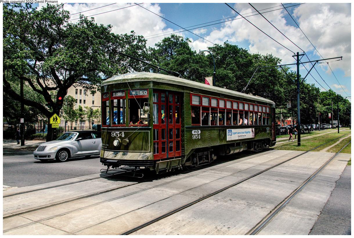 (831k, 1220x820)<br><b>Country:</b> United States<br><b>City:</b> New Orleans, LA<br><b>System:</b> New Orleans RTA<br><b>Line:</b> St. Charles<br><b>Location:</b> St. Charles/Napoleon<br><b>Car:</b> New Orleans Public Service (Perley A. Thomas Car Works, 1924) 954 <br><b>Photo by:</b> David Pirmann<br><b>Date:</b> 5/24/2019<br><b>Viewed (this week/total):</b> 2 / 143