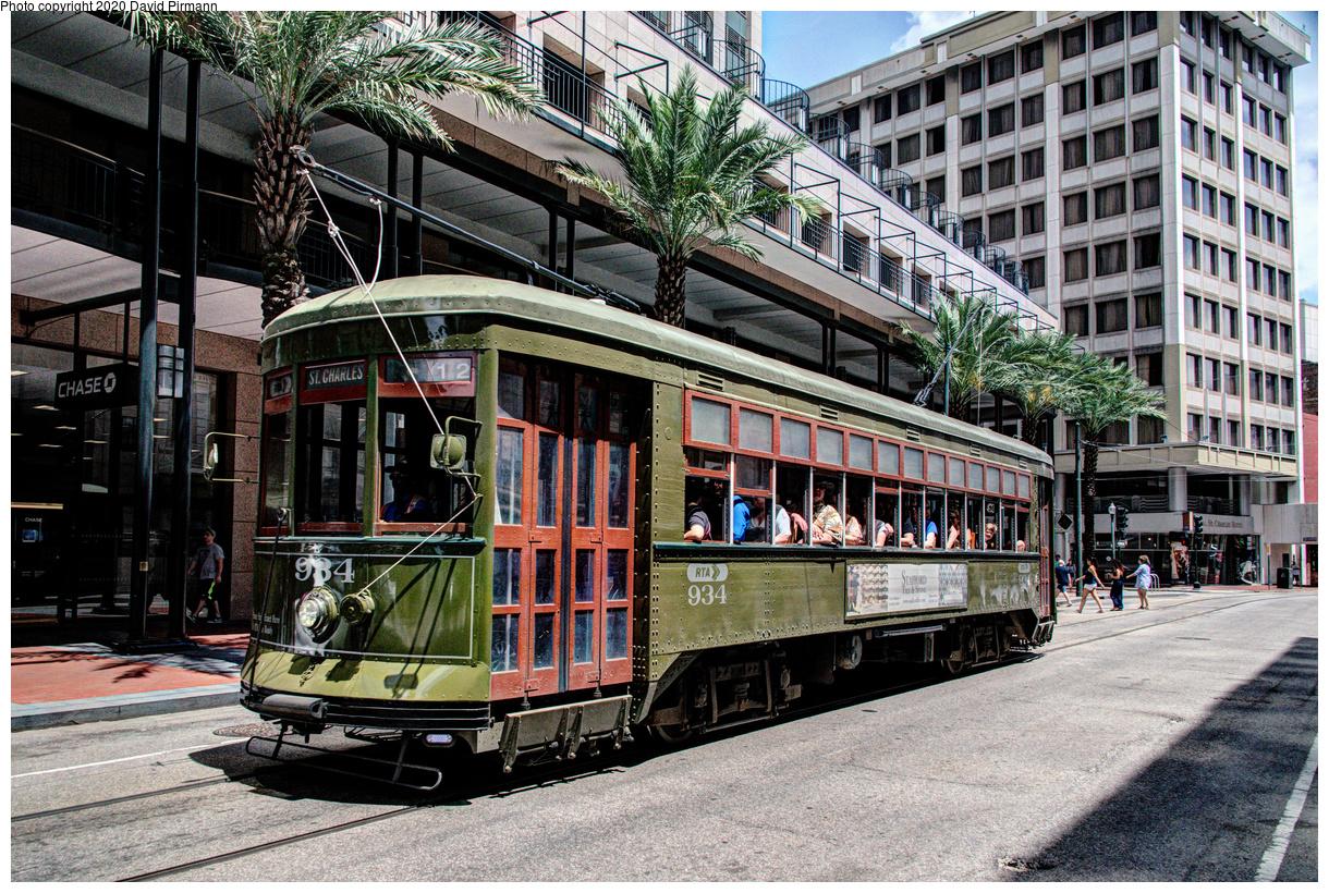 (842k, 1220x820)<br><b>Country:</b> United States<br><b>City:</b> New Orleans, LA<br><b>System:</b> New Orleans RTA<br><b>Line:</b> St. Charles<br><b>Location:</b> St. Charles/Common<br><b>Car:</b> New Orleans Public Service (Perley A. Thomas Car Works, 1924) 934 <br><b>Photo by:</b> David Pirmann<br><b>Date:</b> 5/27/2019<br><b>Viewed (this week/total):</b> 2 / 147