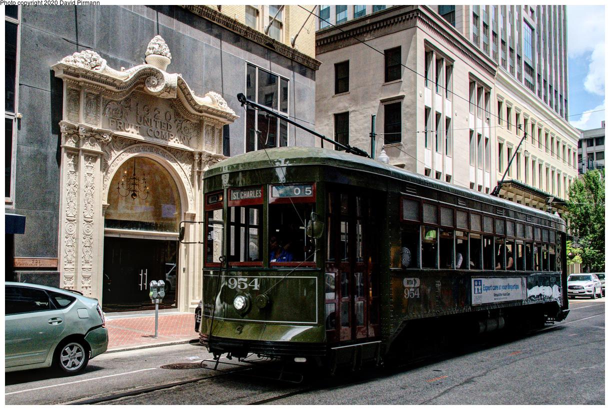 (863k, 1220x820)<br><b>Country:</b> United States<br><b>City:</b> New Orleans, LA<br><b>System:</b> New Orleans RTA<br><b>Line:</b> St. Charles<br><b>Location:</b> St. Charles/Union<br><b>Car:</b> New Orleans Public Service (Perley A. Thomas Car Works, 1924) 954 <br><b>Photo by:</b> David Pirmann<br><b>Date:</b> 5/27/2019<br><b>Viewed (this week/total):</b> 2 / 133