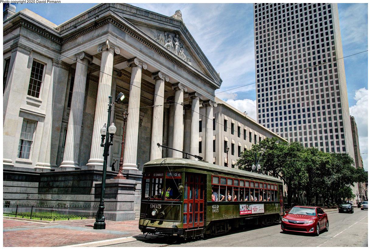 (839k, 1220x820)<br><b>Country:</b> United States<br><b>City:</b> New Orleans, LA<br><b>System:</b> New Orleans RTA<br><b>Line:</b> St. Charles<br><b>Location:</b> St. Charles/Lafayette Square<br><b>Car:</b> New Orleans Public Service (Perley A. Thomas Car Works, 1924) 965 <br><b>Photo by:</b> David Pirmann<br><b>Date:</b> 5/27/2019<br><b>Viewed (this week/total):</b> 0 / 161