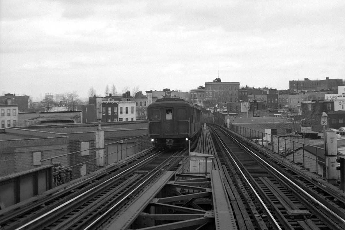 (332k, 1200x800)<br><b>Country:</b> United States<br><b>City:</b> New York<br><b>System:</b> New York City Transit<br><b>Line:</b> BMT Canarsie Line<br><b>Location:</b> Broadway Junction<br><b>Route:</b> LL<br><b>Car:</b> BMT A/B-Type Standard  <br><b>Collection of:</b> David Pirmann<br><b>Date:</b> 3/22/1969<br><b>Viewed (this week/total):</b> 0 / 317
