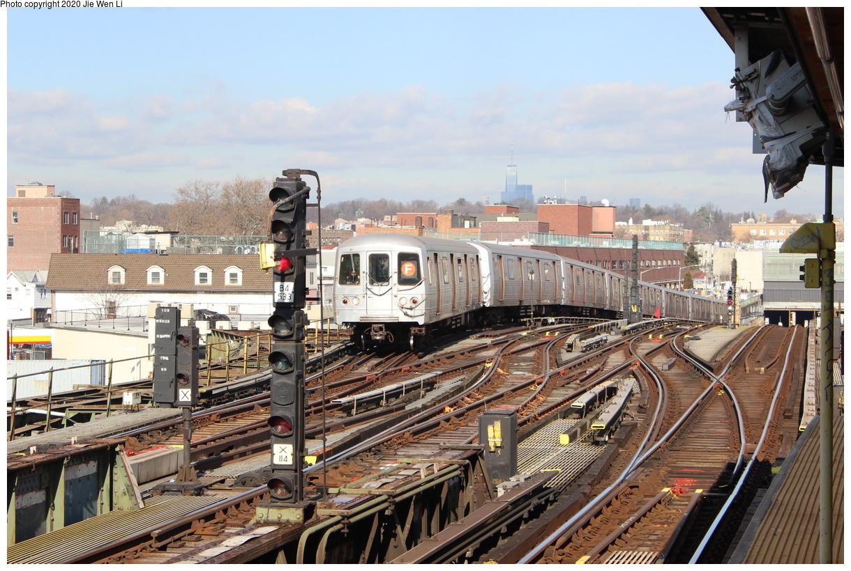 (503k, 1220x820)<br><b>Country:</b> United States<br><b>City:</b> New York<br><b>System:</b> New York City Transit<br><b>Line:</b> BMT Culver Line<br><b>Location:</b> Ditmas Avenue<br><b>Route:</b> F<br><b>Car:</b> R-46 (Pullman-Standard, 1974-75) 5504 <br><b>Photo by:</b> Jie Wen Li<br><b>Date:</b> 2/3/2020<br><b>Viewed (this week/total):</b> 4 / 666