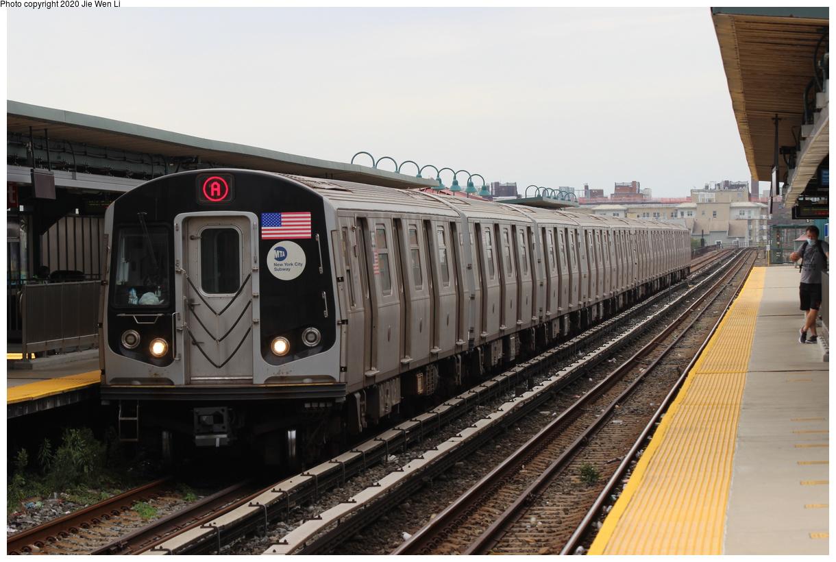 (364k, 1220x820)<br><b>Country:</b> United States<br><b>City:</b> New York<br><b>System:</b> New York City Transit<br><b>Line:</b> IND Rockaway Line<br><b>Location:</b> Beach 67th Street/Gaston Avenue<br><b>Route:</b> A<br><b>Car:</b> R-160B (Option 1) (Kawasaki, 2008-2009) 8987 <br><b>Photo by:</b> Jie Wen Li<br><b>Date:</b> 9/9/2020<br><b>Viewed (this week/total):</b> 4 / 420