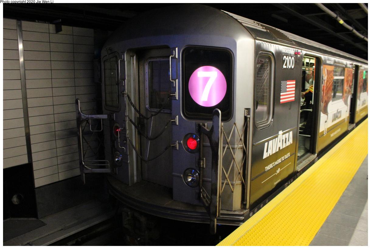 (360k, 1220x820)<br><b>Country:</b> United States<br><b>City:</b> New York<br><b>System:</b> New York City Transit<br><b>Line:</b> IRT Flushing Line<br><b>Location:</b> 34th Street-Hudson Yards<br><b>Route:</b> 7<br><b>Car:</b> R-62A (Bombardier, 1984-1987) 2100 <br><b>Photo by:</b> Jie Wen Li<br><b>Date:</b> 9/13/2015<br><b>Notes:</b> First Revenue R62A to Hudson Yards.<br><b>Viewed (this week/total):</b> 0 / 168