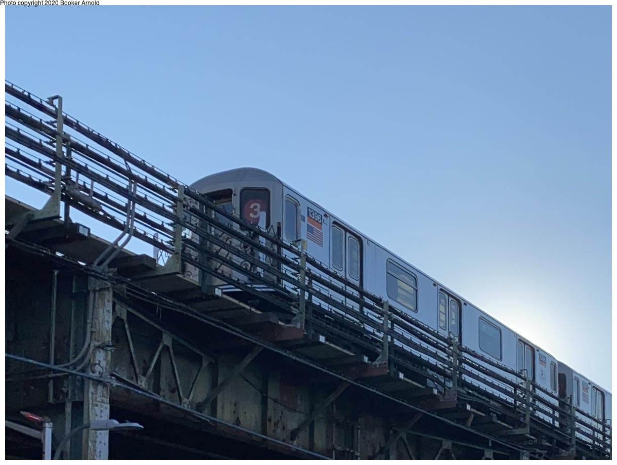 (251k, 1220x919)<br><b>Country:</b> United States<br><b>City:</b> New York<br><b>System:</b> New York City Transit<br><b>Line:</b> IRT Brooklyn Line<br><b>Location:</b> New Lots Avenue<br><b>Route:</b> 3<br><b>Car:</b> R-62 (Kawasaki, 1983-1985) 1396 <br><b>Photo by:</b> Booker Arnold<br><b>Date:</b> 10/31/2020<br><b>Viewed (this week/total):</b> 3 / 525