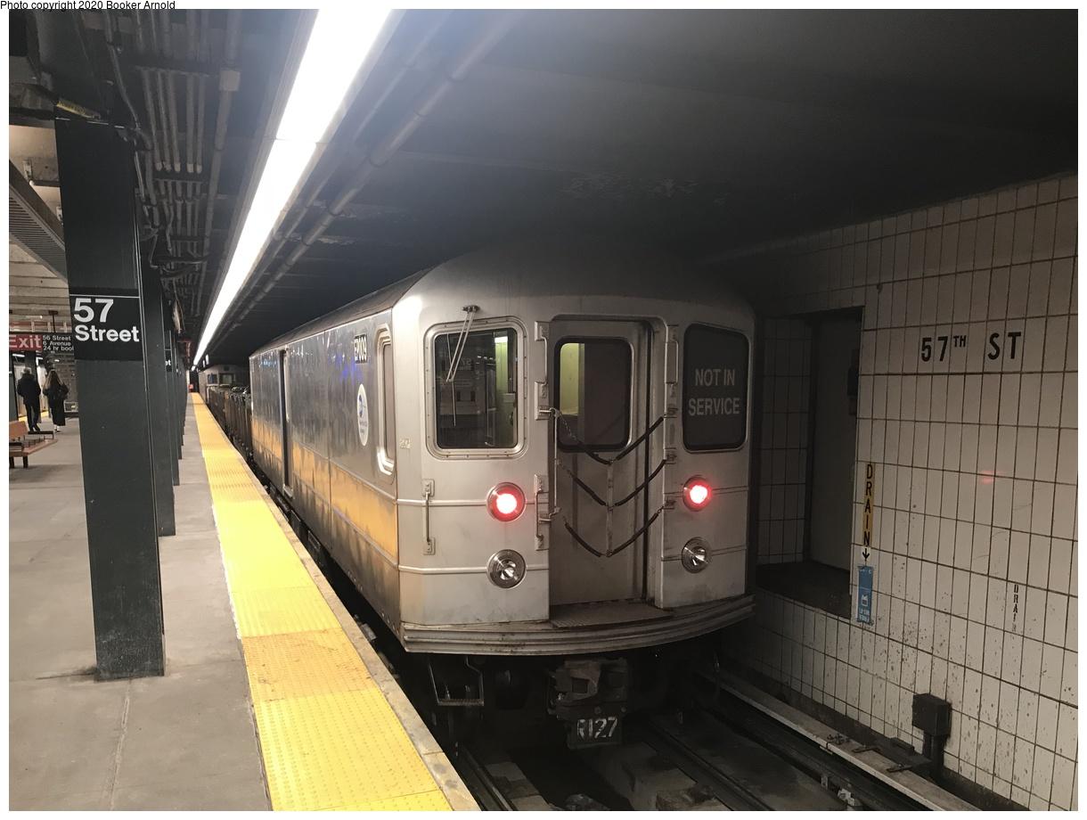 (312k, 1220x920)<br><b>Country:</b> United States<br><b>City:</b> New York<br><b>System:</b> New York City Transit<br><b>Line:</b> IND 6th Avenue Line<br><b>Location:</b> 57th Street<br><b>Route:</b> Work Service<br><b>Car:</b> R-127/R-134 (Kawasaki, 1991-1996) EP009 <br><b>Photo by:</b> Booker Arnold<br><b>Date:</b> 3/4/2019<br><b>Notes:</b> Refuse Collection Train<br><b>Viewed (this week/total):</b> 2 / 555