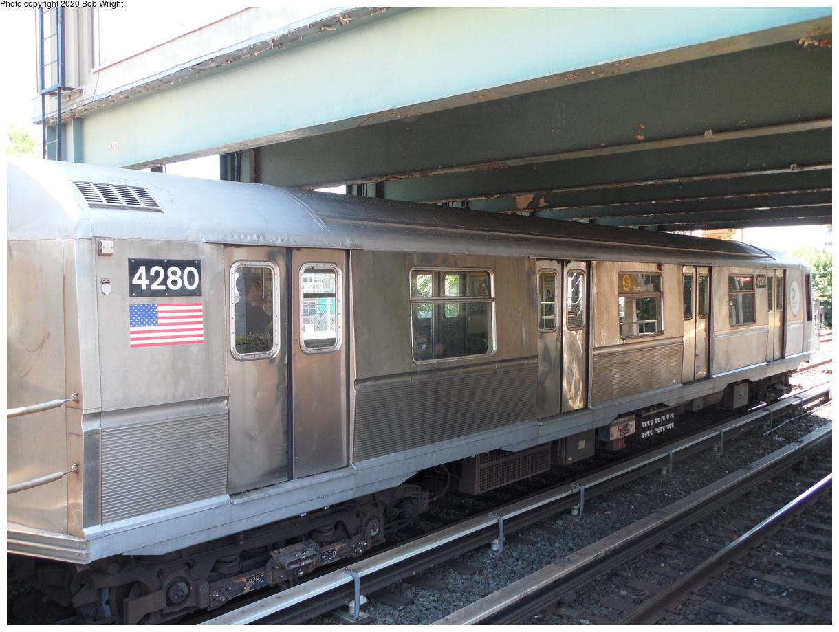 (425k, 1220x920)<br><b>Country:</b> United States<br><b>City:</b> New York<br><b>System:</b> New York City Transit<br><b>Line:</b> BMT Brighton Line<br><b>Location:</b> Brighton Beach<br><b>Route:</b> Museum Train Service<br><b>Car:</b> R-40 (St. Louis, 1968) 4280 <br><b>Photo by:</b> Bob Wright<br><b>Date:</b> 6/25/2016<br><b>Viewed (this week/total):</b> 1 / 974