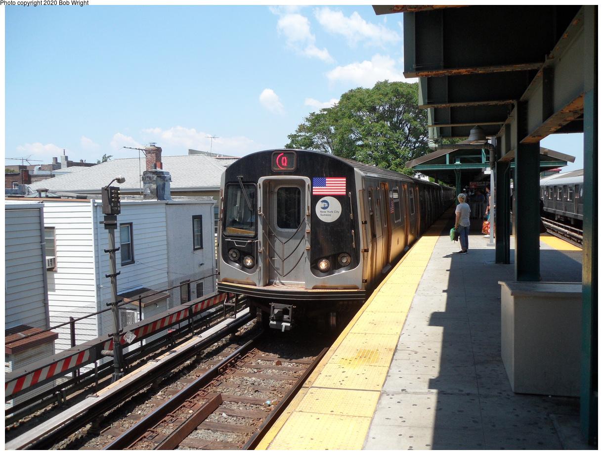 (479k, 1220x920)<br><b>Country:</b> United States<br><b>City:</b> New York<br><b>System:</b> New York City Transit<br><b>Line:</b> BMT Brighton Line<br><b>Location:</b> Kings Highway<br><b>Route:</b> Q<br><b>Car:</b> R-160A/R-160B Series (Number Unknown) 87xx <br><b>Photo by:</b> Bob Wright<br><b>Date:</b> 6/25/2016<br><b>Viewed (this week/total):</b> 3 / 415