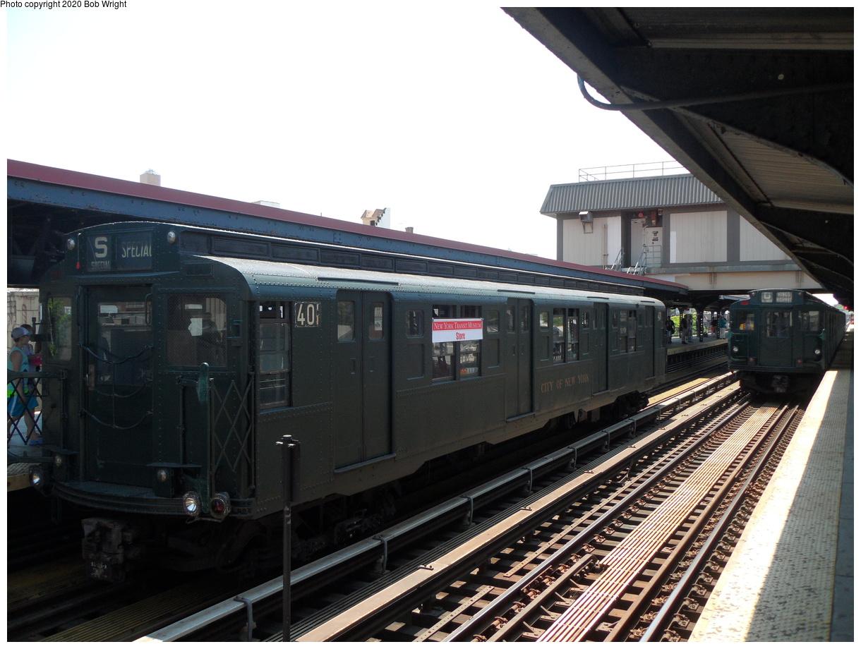 (398k, 1220x920)<br><b>Country:</b> United States<br><b>City:</b> New York<br><b>System:</b> New York City Transit<br><b>Line:</b> BMT Brighton Line<br><b>Location:</b> Brighton Beach<br><b>Route:</b> Museum Train Service<br><b>Car:</b> R-4 (American Car & Foundry, 1932-1933) 401 <br><b>Photo by:</b> Bob Wright<br><b>Date:</b> 6/25/2016<br><b>Viewed (this week/total):</b> 2 / 501