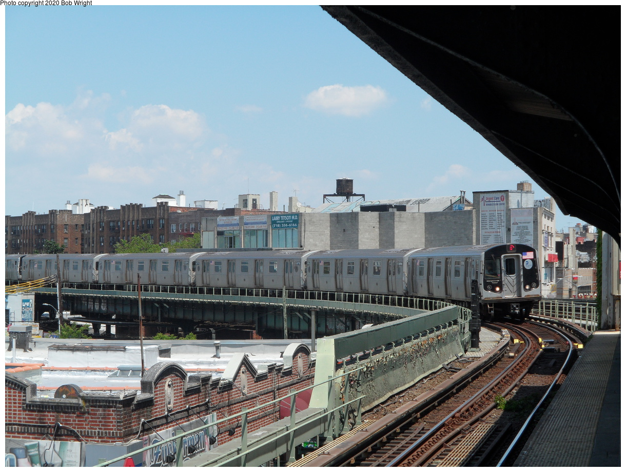 (465k, 1220x920)<br><b>Country:</b> United States<br><b>City:</b> New York<br><b>System:</b> New York City Transit<br><b>Line:</b> BMT Brighton Line<br><b>Location:</b> Brighton Beach<br><b>Route:</b> Q<br><b>Car:</b> R-160B (Kawasaki, 2005-2008) 8768 <br><b>Photo by:</b> Bob Wright<br><b>Date:</b> 6/25/2016<br><b>Viewed (this week/total):</b> 1 / 447