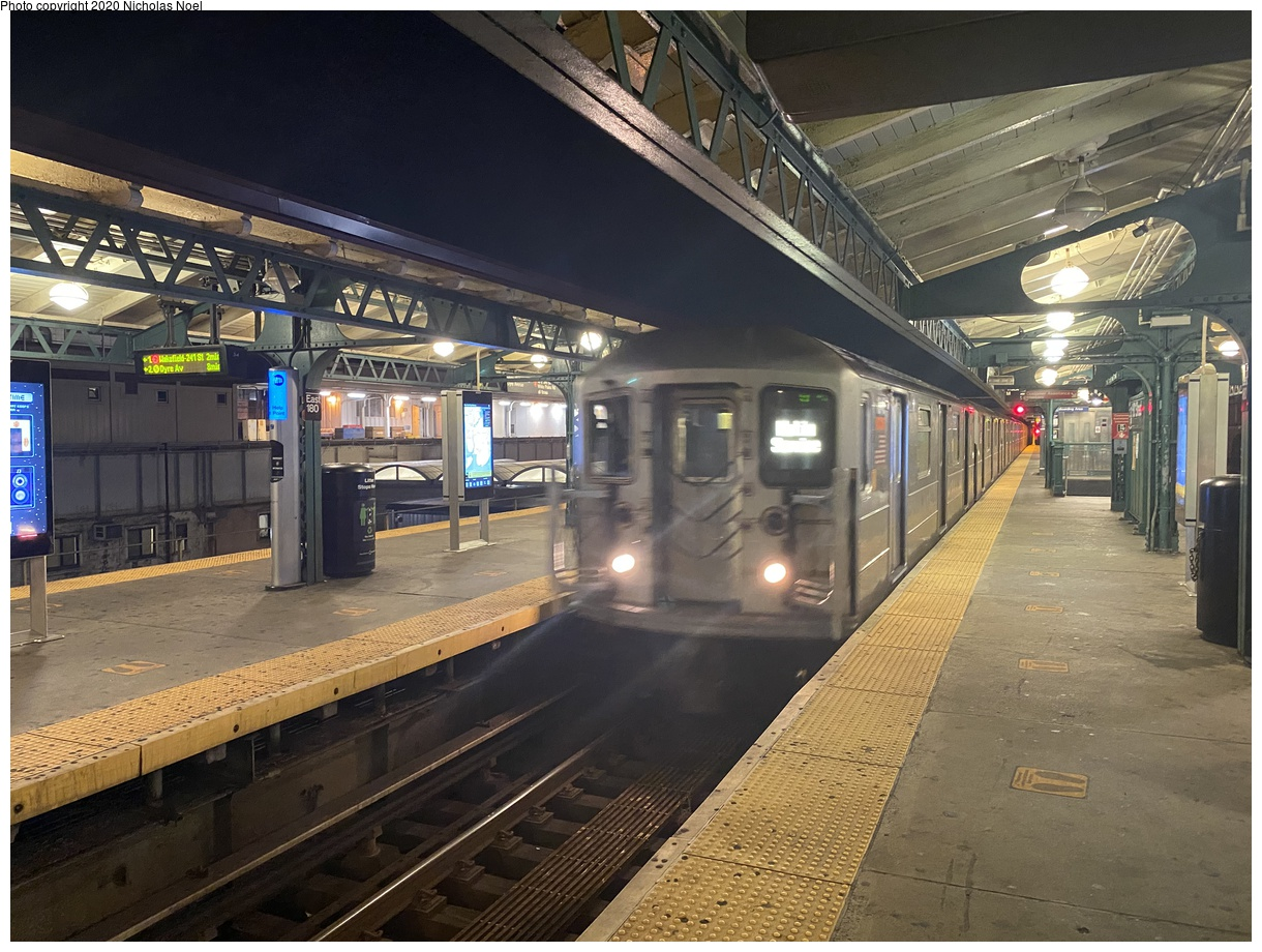 (431k, 1220x920)<br><b>Country:</b> United States<br><b>City:</b> New York<br><b>System:</b> New York City Transit<br><b>Line:</b> IRT White Plains Road Line<br><b>Location:</b> East 180th Street<br><b>Car:</b> R-62 (Kawasaki, 1983-1985) 1345 <br><b>Photo by:</b> Nicholas Noel<br><b>Date:</b> 11/10/2020<br><b>Viewed (this week/total):</b> 5 / 144