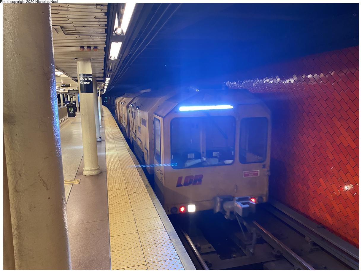 (353k, 1220x920)<br><b>Country:</b> United States<br><b>City:</b> New York<br><b>System:</b> New York City Transit<br><b>Line:</b> IRT East Side Line<br><b>Location:</b> Bowling Green<br><b>Route:</b> Work Service<br><b>Car:</b> LORAM Rail Grinder  <br><b>Photo by:</b> Nicholas Noel<br><b>Date:</b> 11/12/2020<br><b>Viewed (this week/total):</b> 0 / 259